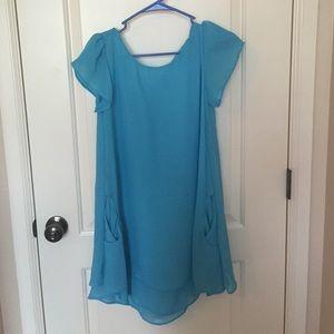 Short Blue Chiffon Dress