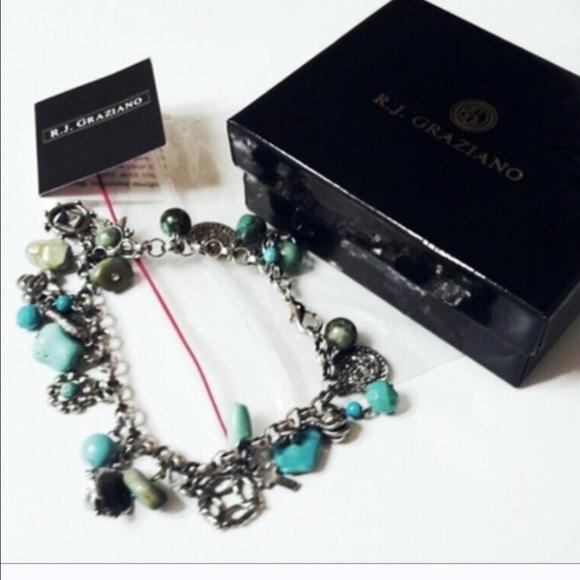 r j graziano rj graziano turquoise charm dangle bracelet