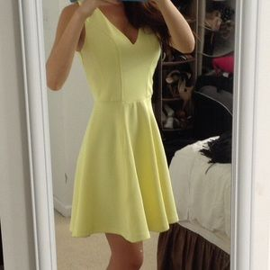 Pastel yellow A line cocktail dress