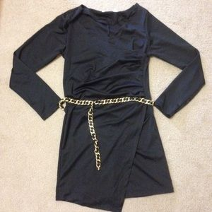 Authentic CHANEL Gold Chain Black Leather Belt