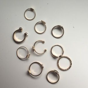 Set of 10 Midi Rings