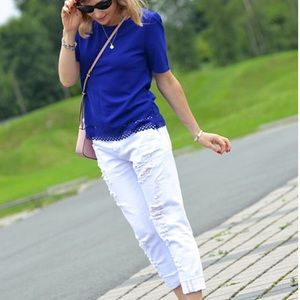 N/A Tops - Electric Blue Scalloped Blouse