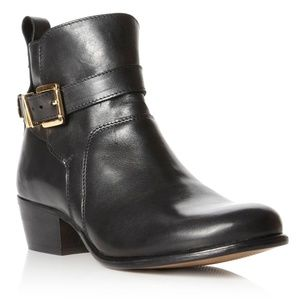 Dune Black Ankle Boots with Gold Buckles