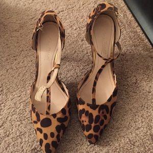 Leopard T strap heels