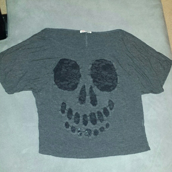 68% off I?Hannah Tops - Lace skull accented t-shirt from ...