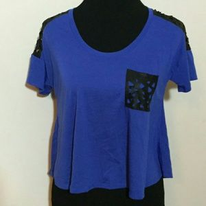 Royal blue short sleeve crop top with faux leather