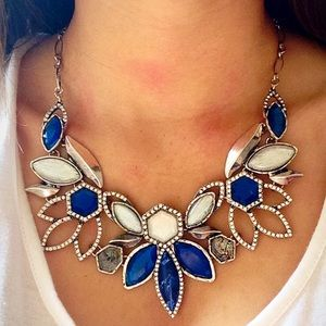 ❗️LAST ONE❗️ Silver Blue Floral Crystal Necklace