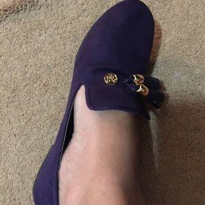 Purple velvet Mickey Pumps.  Vivid purple