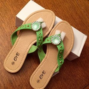 Eve Shoes - EVE LIME GREEN SANDALS WITH GOLD STUDS BRAND NEW