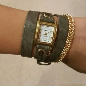 La Mer Gold Double Chain Wrap Watch