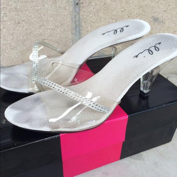 7c914f0be12636 Ellie Shoes - Clear Sandals w  Rhinestones