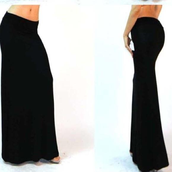 1b31472f0c Dresses & Skirts - Black Fold-over Maxi Skirt
