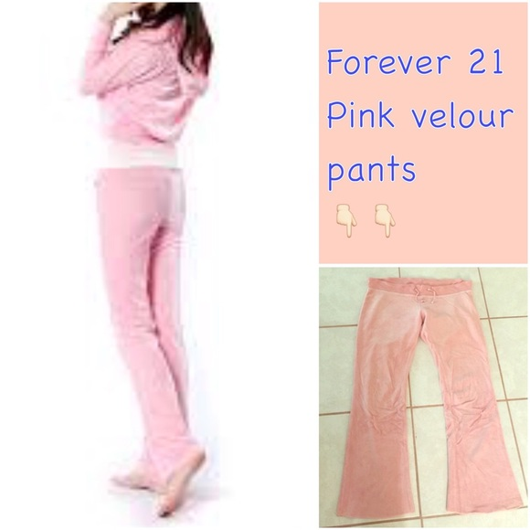 Forever 21 Pants Jumpsuits Baby Pink Velour Tracksuit Sweat Pants Poshmark
