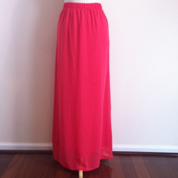 40 forever 21 dresses skirts coral chiffon maxi