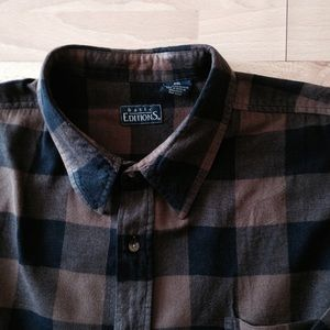 77 off basic editions other final price brown buffalo for Brown and black plaid shirt