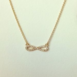 Jewelry - Gold pave crystal infinity pendant necklace NEW
