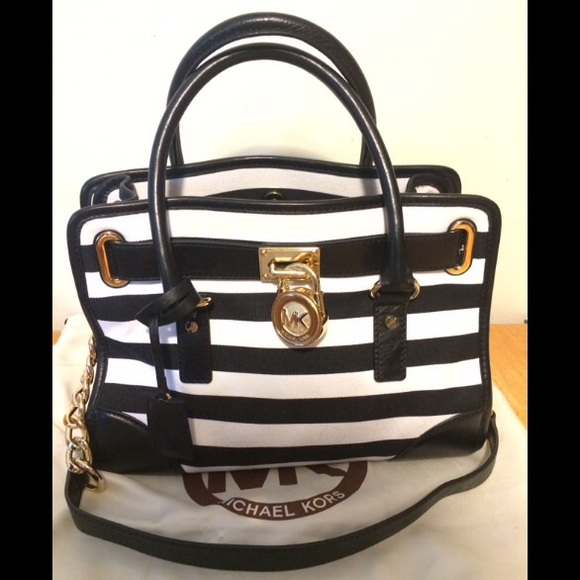 Michael Kors Black   White Striped Handbag. M 55b9146ddbda257366020274 1dfcd208eba36