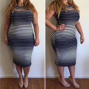 Dresses & Skirts - Navy Stripped Dress*