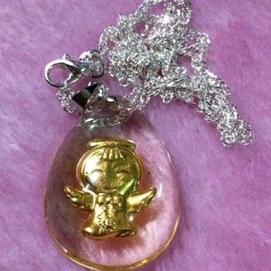 24k gold lucky angel pendant necklace