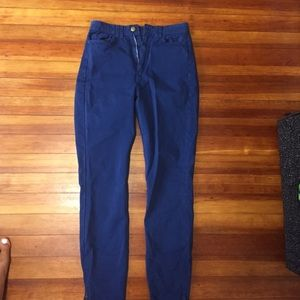 High waisted navy jeans