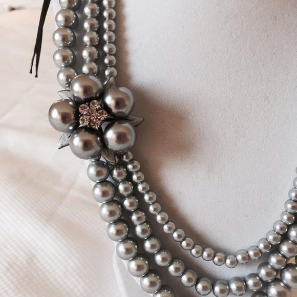 85 off jewelry grey gray pearl ribbon tie necklace for Ribbon tie necklace jewelry