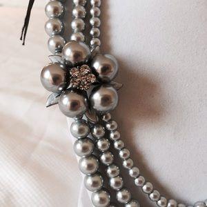 80 off jewelry grey gray pearl ribbon tie necklace for Ribbon tie necklace jewelry