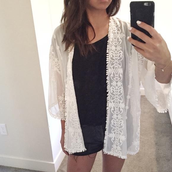 Urban Outfitters - Off-White Sheer Kimono from *koko's closet on ...