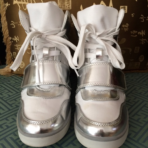 jcpenney white and silver wedges from erika s closet on