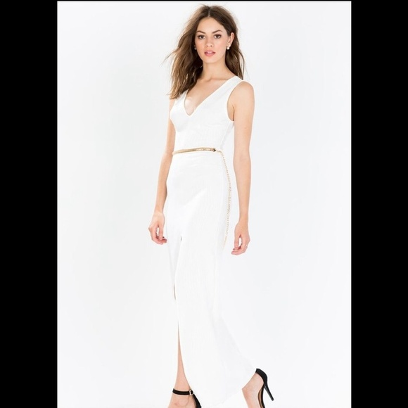 missguided dresses white helix slit maxi dress with gold belt
