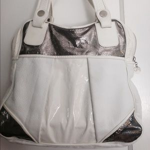 GUSTTO Handbags - GUSTTO Leather white and metallic silver large bag