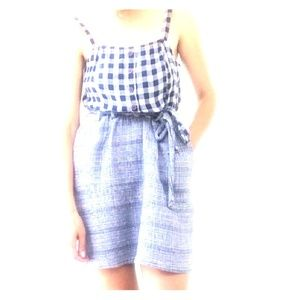 I Heart Ronson Blue & White Plaid Dress L