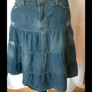 Urban Outfitters Lux Distressed Jean Skirt