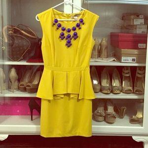 Mustard yellow peplum dress