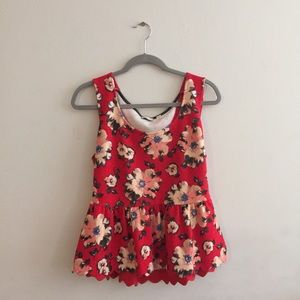 Anthropologie Tops - Anthro Floral Peplum Top w/ Scalloped Back Cut Out
