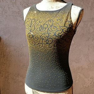 A. Byer  Tops - 22) Dressy black top w/yellow bead embellishments