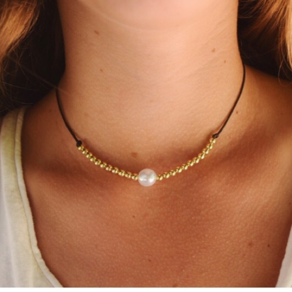 Leather Necklace With Pearl And Gold Beads Os From Sydney