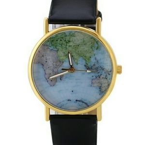 World map pattern watch