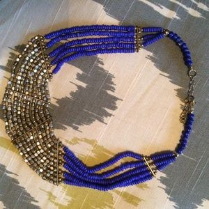 BLUE statement necklace beads GOLD tribal BOHO