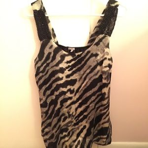 Brand new fancy zebra print top NWOT