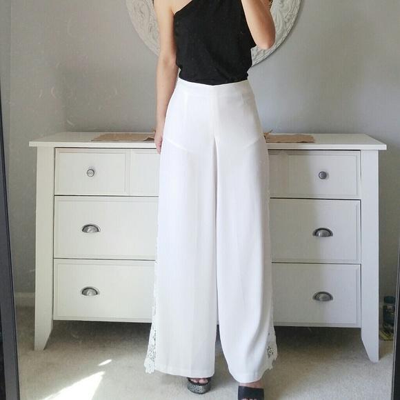 00fcb794 Zara Pants | Endlessrose High Waist Wide Leg White Lace | Poshmark