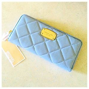 Michael Kors Baby Blue Leather Quilted Wallet