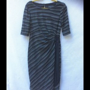 Connected Apparel  Dresses & Skirts - Gray & black faux wrap bandage dress