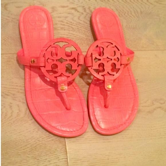 7dd94c6d0 Tory Burch Croc Embossed Miller Sandals. M 55b9b7e12ec0e11ea90029e8