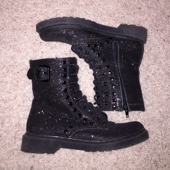13e0fdc55f12 Guess Shoes | Black Sparkly Combat Boots | Poshmark