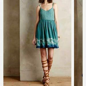 Anthropologie Watergarden Silk Dress