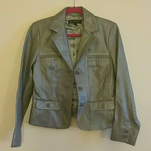 INC silver/grey leather jacket