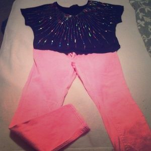 Top and pink jeans
