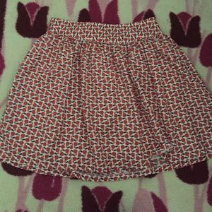 Red apples skater skirt with elastic waist