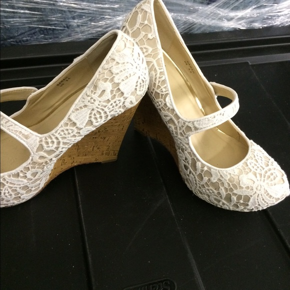 75 shoes white lace wedge shoes from s