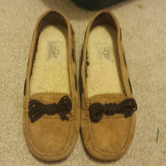 Ugg brown flats loafers slippers bow moccasins 6
